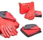 Stijlvolle vrouw rode zak, handschoenen en een sjaal — Stockfoto