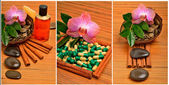 Orchid flower, pebbles in the coconut shell, soap, shower gel an — Stock Photo