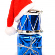 Christmas drums, baubles, toys and christmas hat — Stock Photo #57636969