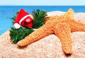 Starfish, christmas baubles and pine twig on the sand — Stock Photo