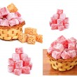 Turkish sweet delights in icing sugar in the basket isolated — Stock Photo #61732473