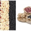 Постер, плакат: Red kidney beans black beans and black eyed beans in the sacks