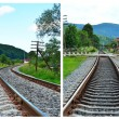 Railway track near the green forest — Stock Photo #61732583