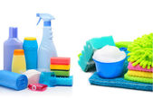 Cleaning supplies, sponges, cleaning powder and  garbage bags — Stock Photo