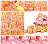 Turkish sweet delights in icing sugar in the basket isolated on  — Stock Photo