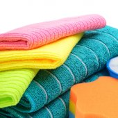 Colorful cloths microfiber and towels isolated on a white backgr — 图库照片