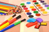 Paintbrushes, pencils sharpeners, colored pencils, water-colour  — Stock Photo