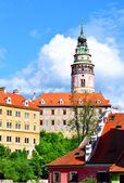 View of city in Czech Krumlov, Czech Republic, church spire, bui — Stock Photo