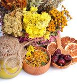 Fiore di calendula, miele, erbe, limone wild rose, secchi — Foto Stock