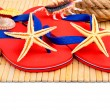 Red flip-flops, slippers with flowers on the wooden background — Stock Photo #74111683