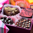 Chocolate sweets in gift boxes — Stock Photo #74112087
