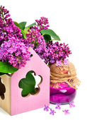 Lilac flower, shower gel isolated — Stock Photo