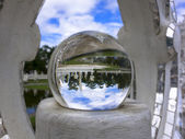 Pond in Magic Ball of White Temple. — Stock Photo
