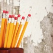 Group of yellow pencils in pencil holder — Stock Photo #52370327