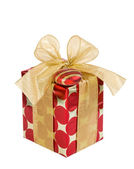 Red and golden Christmas gift box — Stock Photo