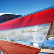 Tail fin of a red 1957 Chevrolet Bel Air classic car — Stock Photo #57790431