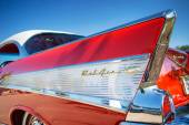 Tail fin of a red 1957 Chevrolet Bel Air classic car — Stock Photo