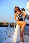 Woman on private speed-boat — Stock Photo