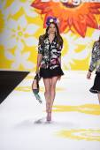 Model walks the runway at Desigual during Mercedes-Benz Fashion Week Spring 2015 — Stock Photo