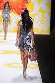 Adriana Lima walks the runway at Desigual during Mercedes-Benz Fashion Week Spring 2015 — Stock Photo