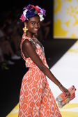 Model walks the runway at Desigual during Mercedes-Benz Fashion Week Spring 2015 — Stok fotoğraf