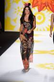 Adriana Lima model walks the runway at Desigual during Mercedes-Benz Fashion Week Spring 2015 — Stock Photo