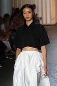Model walks the runway at the Tibi fashion show — Stock Photo