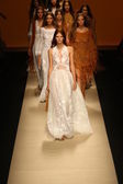 Models walk the runway finale during the Alberta Ferretti show — Stock Photo