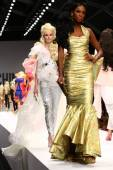 Models walk the runway finale during the Moschino show — Stock Photo