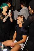 Models prepare backstage during 2(X)IST Spring Summer 2015 Runway Show — Stock Photo