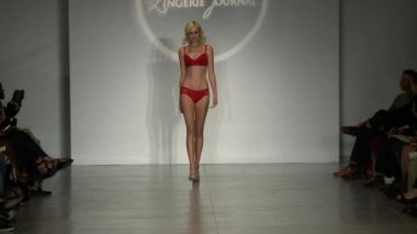 NEW YORK, NY - OCTOBER 25: A model walks runway at Finale Runway Show during Lingerie Fashion week closing benefit Spring 2015 collections at the Center 548 on October 25, 2014 in New York City. — Vídeo de stock