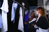 Clothes on racks ready backstage at the Lie Sang Bong Spring 2015 during MBFW — Stockfoto