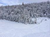 Declive nevado nas montanhas — Fotografia Stock