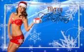 Sexy Santa's Helpers poscard walpaper template — Stock Photo