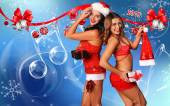 Sexy Santa's Helpers Holiday postard Wallpaper Template — Stock Photo