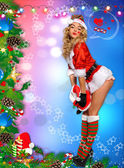 Sexy Santa's Helper — Stock Photo