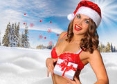 Sexy Santas Helper girl — Stock Photo