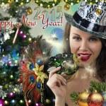 Sexy Santa's Helper - Winter Holiday - Happy New Year Greeting card wallpaper — Stock Photo #61371499