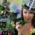 Sexy Santa's Helper - Winter Holiday - Happy New Year Greeting card wallpaper — Stock Photo #61371501