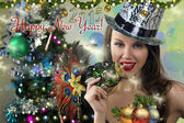 Sexy Santa's Helper - Winter Holiday - Happy New Year Greeting card wallpaper — Stock Photo