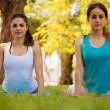 Girls practicing cobra yoga pose — Stock Photo #52643817