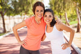 Friends at running track — Stock Photo