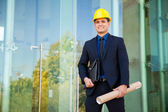 Architect supervising construction project — Stock Photo