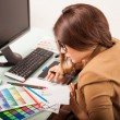 Designer looking at swatches — Stock Photo #63996773