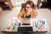 Designer enjoying her job — Stock Photo