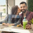 Woman  kissing man — Stock Photo #65239301
