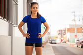 Unner ready to begin her workout — Stock Photo