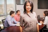 Woman in casual attire standing — Stock Photo