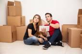 Couple visualizing furniture — Stock Photo