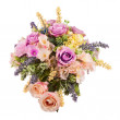 Bouquet from artificial flowers arrangement centerpiece in vase. — Stock Photo #53901967